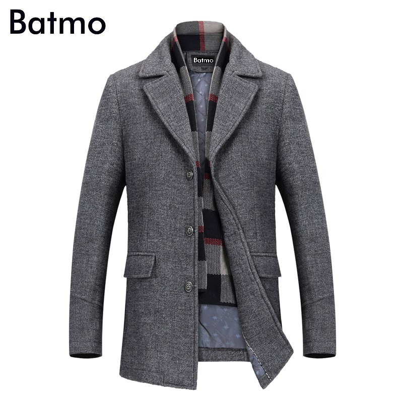 Batmo 2019 new arrival winter high quality wool casual gray trench coat men,men's winter warm coat,winter jackets men 823