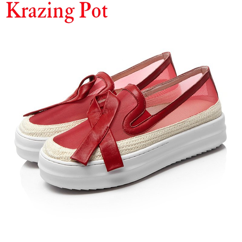 Superstar Air Mesh Large Size Slip on Round Toe Platform Loafers Causal Classic Sneaker Women Increased Vulcanized Shoes L72