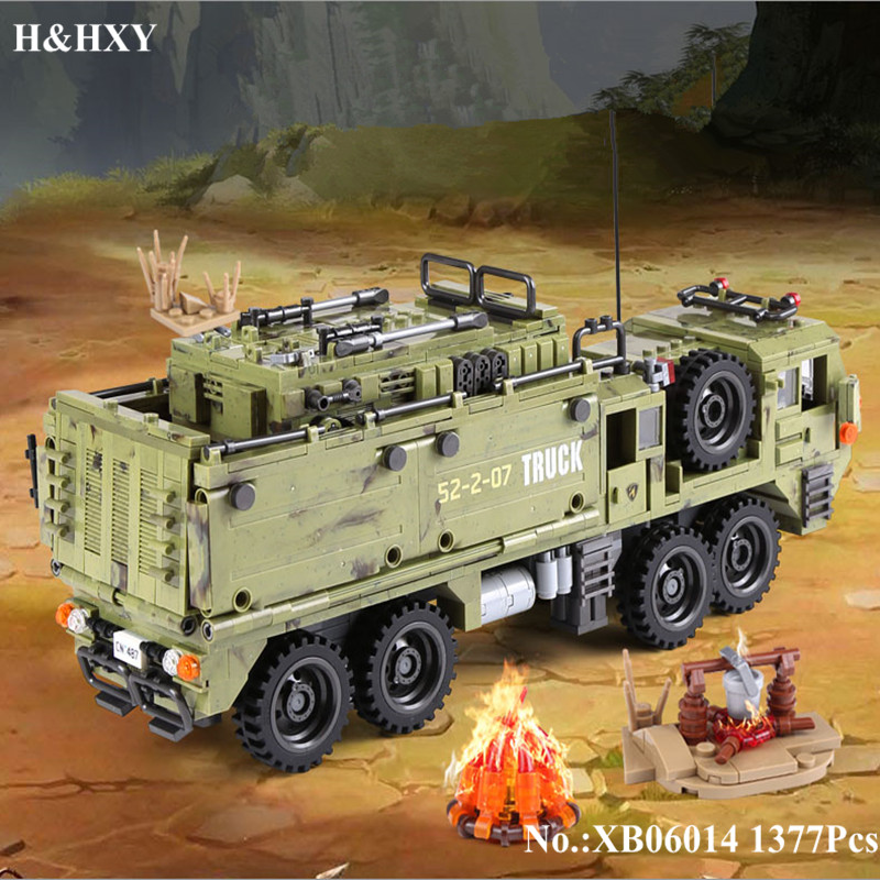 H&HXY IN STOCK XB06014 1377Pcs Military Series The Scorpion Heavy Truck Set Building Blocks Bricks DIY Toys for Children Gifts in stock h