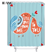 IBANO Shower Curtain Cute Bird Customized Bath Waterproof Polyester Fabric For The Bathroom With 12pcs Hooks