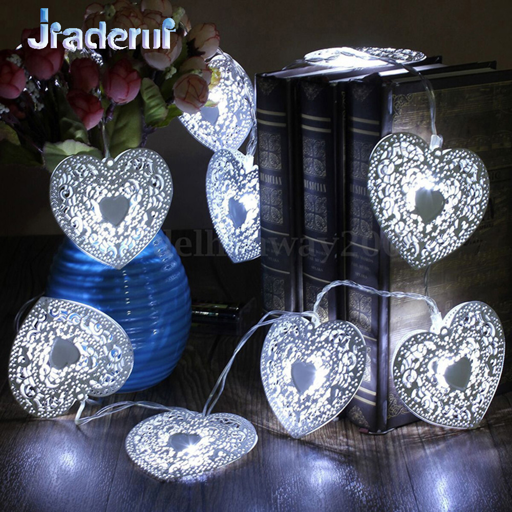 Jiaderui 20LED Battery Operated Heart Shaped Xmas New Year String Light Festival Party Wedding Decor Indoor/Outdoor Fairy Lights