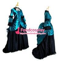 Синий готический панк элегантный мяч средневековой платье викторианской Косплэй костюм на заказ