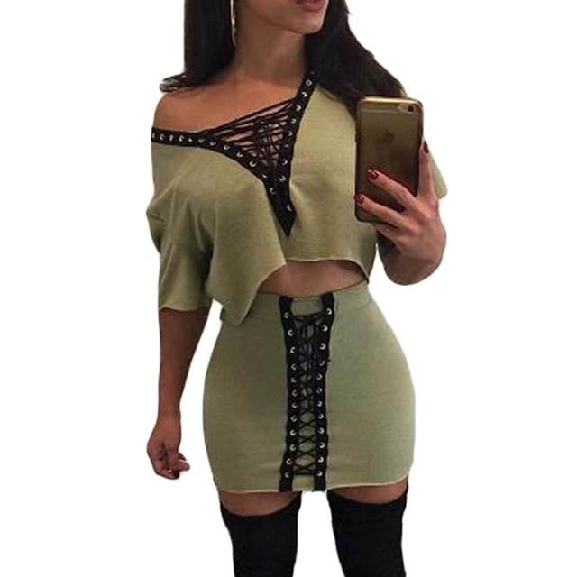 2017 Из Двух Частей Летние Женщины Dress С Плеча Майка Tie-Up 2 Шт. Черный Bodycon Бинты Сексуальная Клуб Party Dress Vestidos