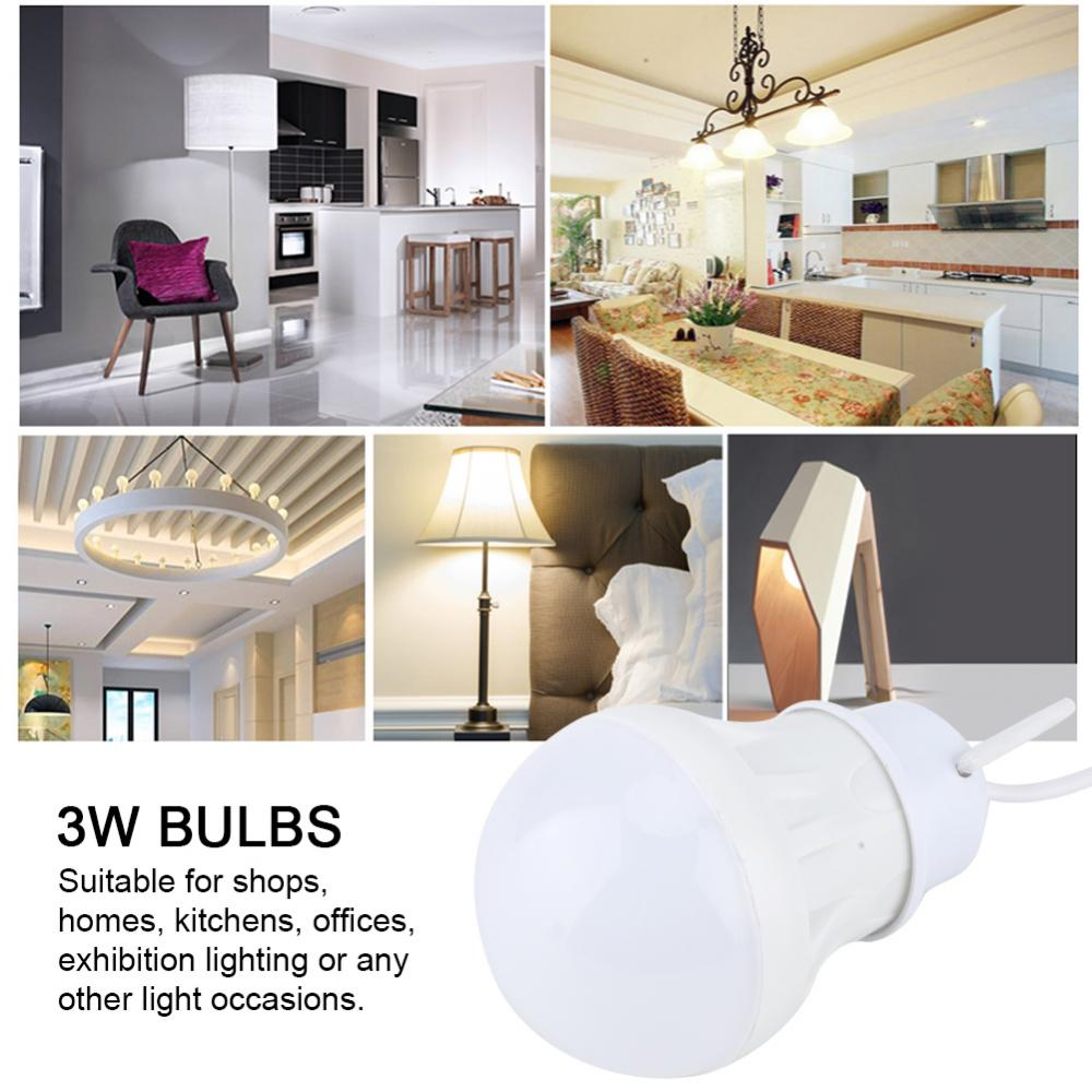 3W USB LED Bulbs With Wire DC 5V Lampada LED Bulb Lighting Low Consumption Exquisite Lamps for Outdoors Home use in LED Bulbs Tubes from Lights Lighting