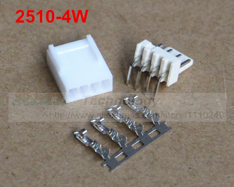 50set/lot KF2510 KF2510-4W 2.54 mm pitch 4 pin connector,Female housing + Right angle male header + Terminal, free shipping