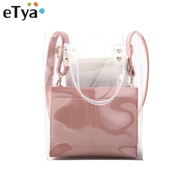 ffdf08bd0f eTya Fashion Transparent PVC Handbags Summer 3pcs set New Women Beach Handbag  Trend Shoulder Bag Crossbody Bag Female Bags Purse