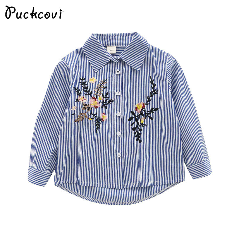 Girl Blouse 2018 Spring Kids clothes Cotton stripe shirts Embroidery Children shirt Spring Autumn blouse Long sleeve 3-13 Y