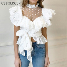 2019 New Sexy Lace Mesh Women Tops Elegant Ruffled Sashes Female And Blouses Summer Casual Short Sleeve Black White