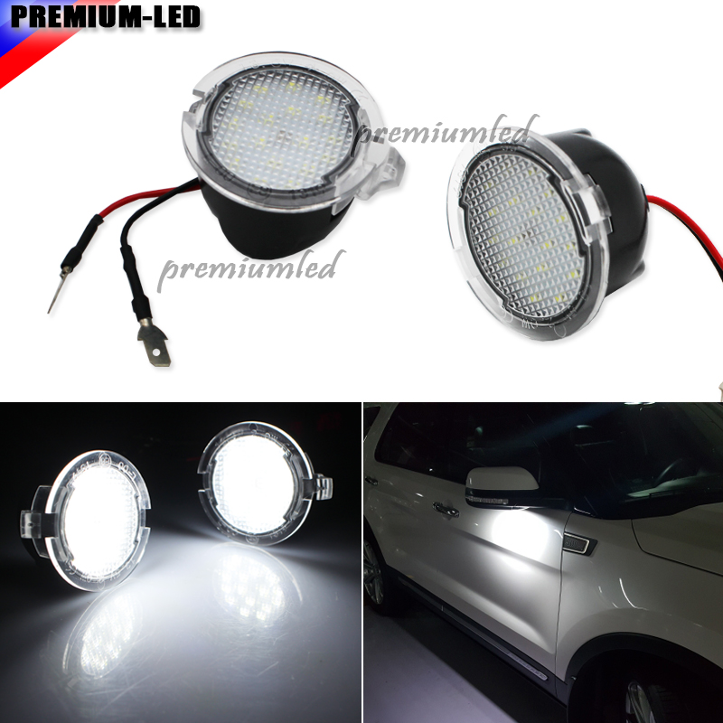 2pcs led side mirror puddle light For Ford Edgy Explorer Mondeo Taurus auto replacement side under mirror bulbs Car styling