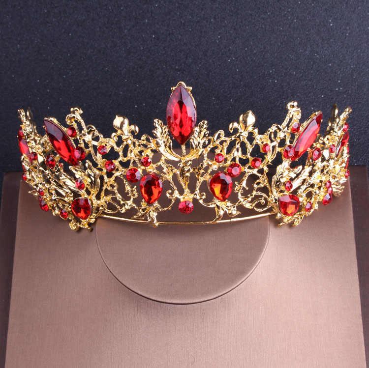 Baroque Vàng Vintage Pha Lê Đỏ Cô Dâu Bộ Trang Sức Kim Cương Giả Tiaras Thái Vòng Cổ Choker Bộ Bông Tai Cưới Phụ Kiện