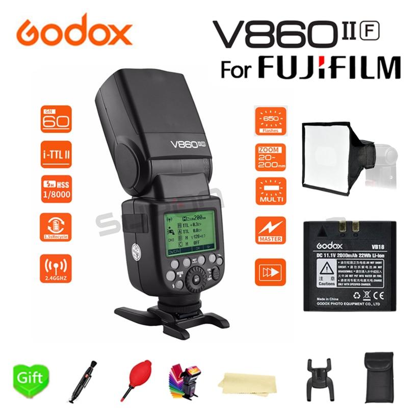 Godox Ving V860II V860II-F 2.4G Wireless X-System E-TTL HSS 1/8000s Li-ion Battery Camera Speedlite Flash for Fujifilm FUJI DSLR godox 2pc v860ii the flash li battery e ttl hss 1 8000s bateria camera flash speedlite v860iic with x1t c for canon 60d 650d 80d