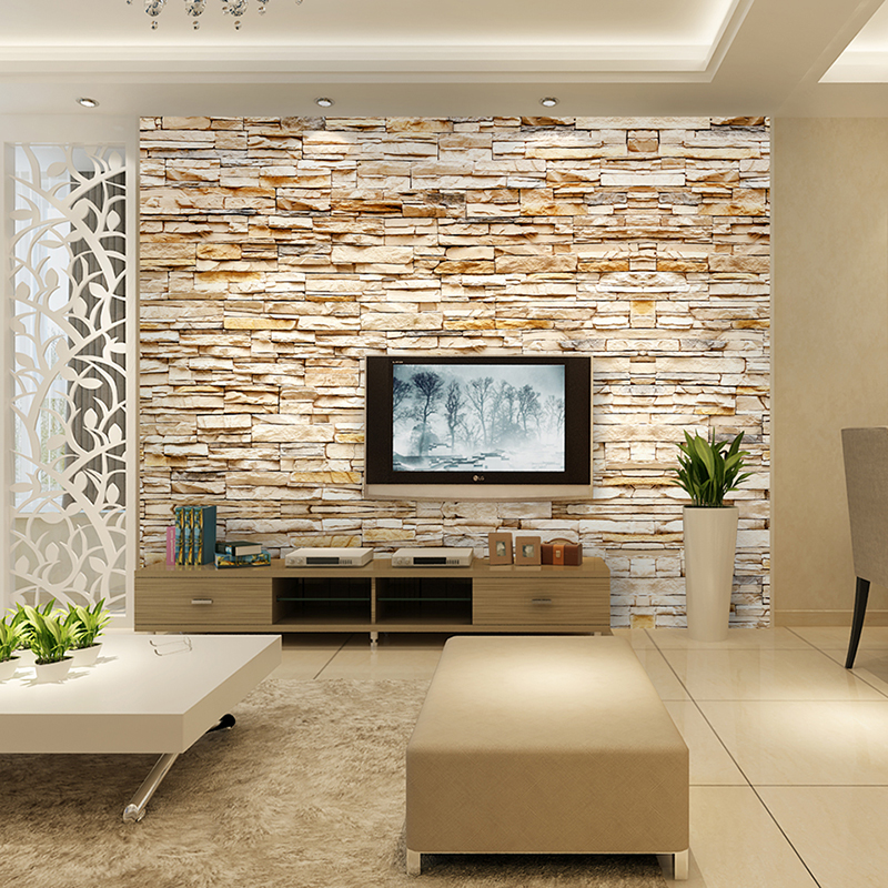 Non woven fashion 3d stone bricks wallpaper mural for for Faux carrelage mural a coller