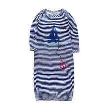 Синяя полоска, песочник для сна для маленьких мальчиков, Бамбуковая ткань, осенняя одежда для сна с длинными рукавами, Полосатый Комбинезон для мальчика с морской тематикой, Ropa Navidad