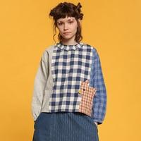 Harajuku Fashion Women Blouse Plaid Patchwork Ruffled Female Shirts Cotton Original High Quality Personality Full Sleeve