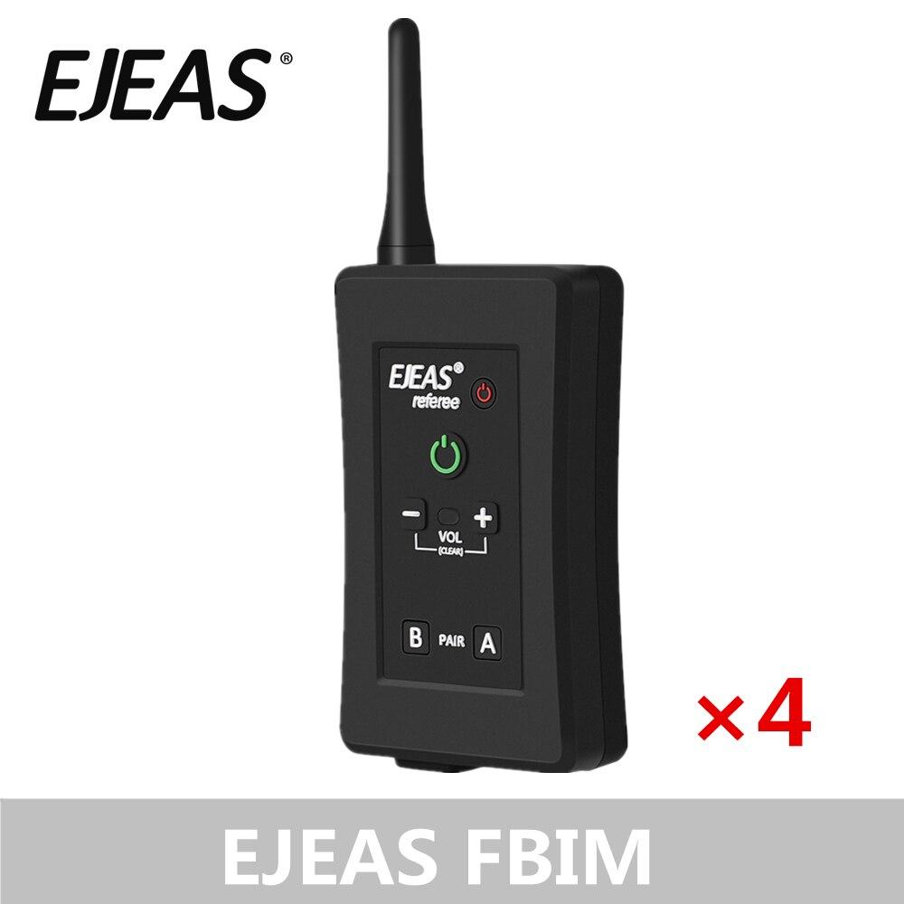 4 Pack EJEAS FBIM casque d'arbitre Bluetooth quatre voies avec étui de brassard 1.2Km étanche pour les entraîneurs de Football