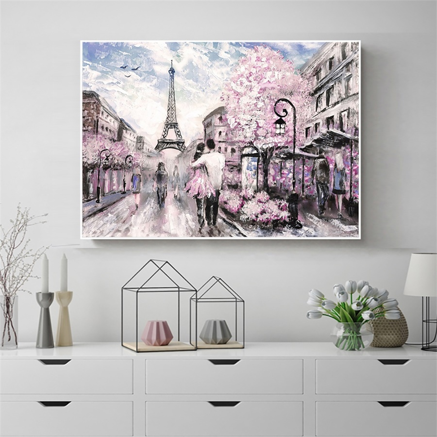 Laeacco Canvas Painting Calligraphy Paris Posters Prints Nordic Spring Street Wall Art Pictures For Home Living Room Decoration(China)