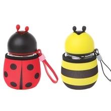 Creative Protable Bee Ladybug Water Bottles Glass Drink Cup Outdoor Kids Gift #0622