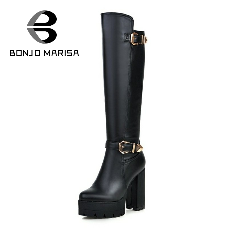 ФОТО BONJOMARISA Fashion Cool Buckle Motorcycle Punk Boots Women Thick High Heels Velvet Winter Shoes Knee High Military Boots Woman