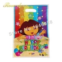 500 sztuk/partia Dora Theme Strona Gift Bag Party Dekoracje Plastikowe Cukierki Torba Loot Bag Dla Kids Festival Party Supplies