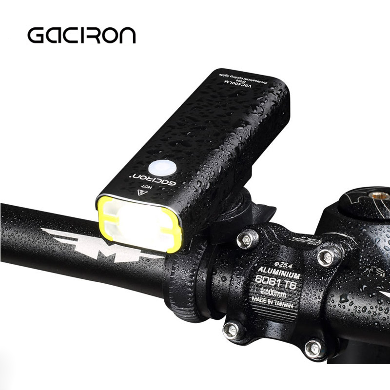 GACIRON V9C-400 LED 400 Lumens Waterproof Bicycle Light USB Rechargeable Bike Handlebar Flashlight Outdoor Mini Cycling Light gaciron professional 1600 lumens bicycle light power bank waterproof usb rechargeable bike light flashlight