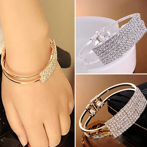 Fashion Crystal Bracelet for Women Gold Color&Silver Bracelet Rhinestone Open Bracelet Bracelet Holiday Gift