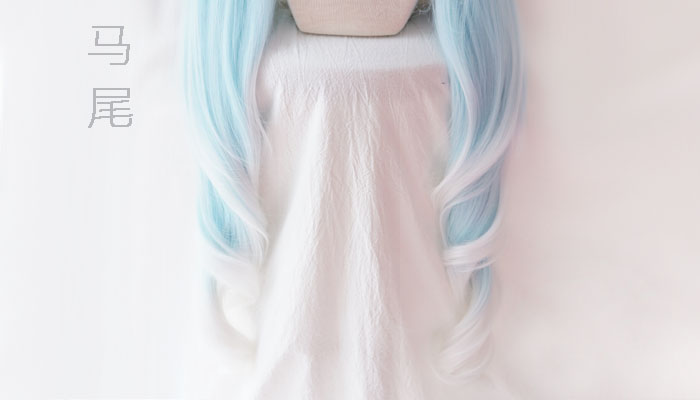Image 3 - 2019 Snow Miku Cosplay Wig VOCALOID Hatsune Miku 120cm Long Pigtails Light Blue Synthetic Hair for Adult-in Game Costumes from Novelty & Special Use