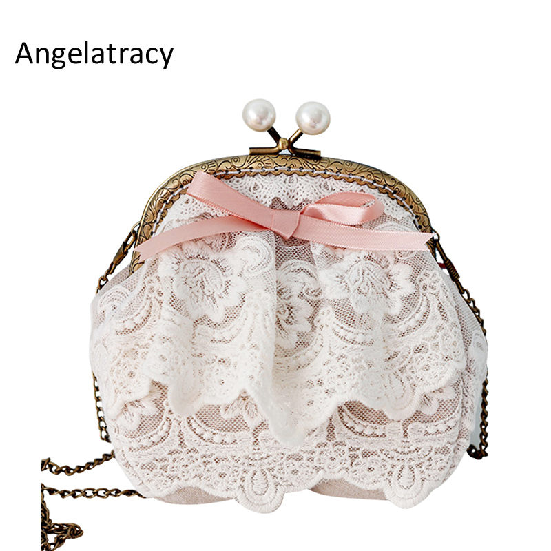 Angelatracy Lace Woman Small Shoulder Bag White Beige Coin Purse Pearl Bag Clasps Pink Ribbon Bow