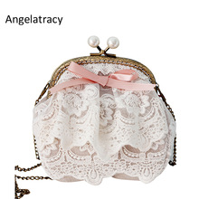 Angelatracy Lace Woman Small Shoulder Bag White Beige Coin Curse Pearl Bag Clasps Pink Ribbon Bow Լեդի ձեռքի պայուսակներ bolsa feminina