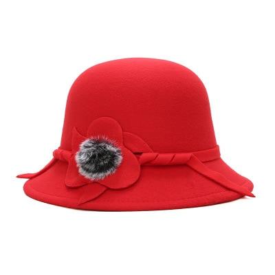 Women Vintage Imitation Wool Rose Flower Felt Fedora Hats Ladies Fall Winter Cloche Bucket Cap