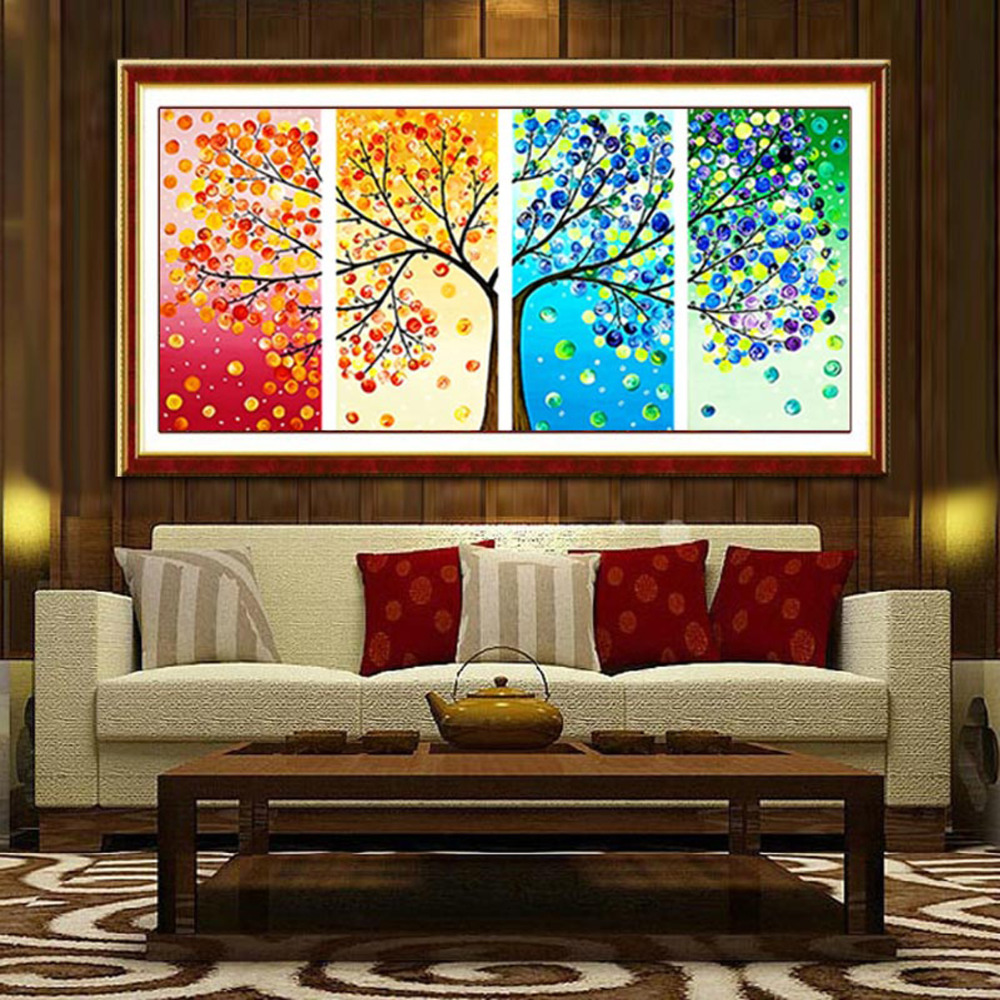 1 Set Large Cross Stitch Kits Embroidery DIY Counted Cross Stitch Colorful Handmade 3D Tree Wall Home Office Decor 103*57cm
