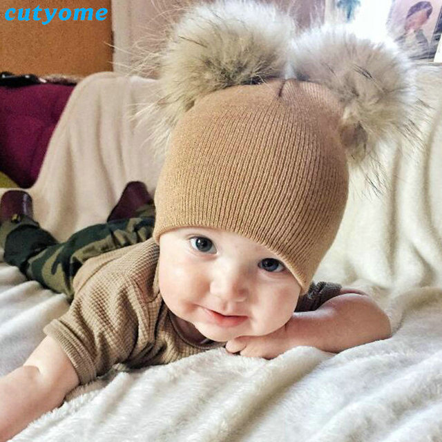 829f5adf55f Baby Hat Photography Props Pom Pom Winter Knitted Beanie Faux Fur Cap For Toddler  Infant Kids