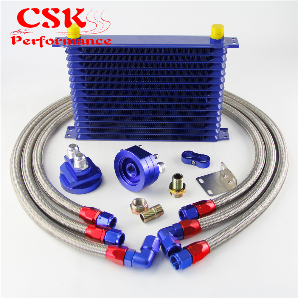 цена на 15 Row 262mm AN10 Universal Engine Transmission Oil Cooler Trust Type + Filter Adapter Kit Silver/Blue/Black