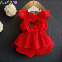 2017 Summer Girls Korean Lace Sets Baby Girls Red Tops T Shirts Shorts Pants Suit Kids