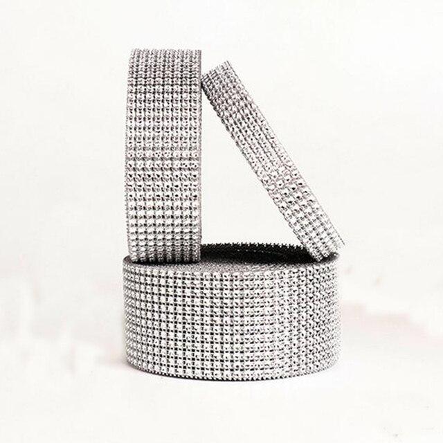 A Roll 10 Yards Silver Plastic Diamond Rhinestone Wrap Ribbon Wedding Party Home Decoration Event