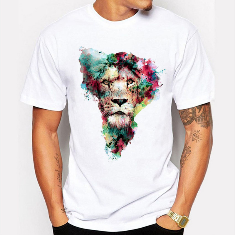 2016 Newest Fashion colourful lion T Shirt Summer Cool Animal Design T-shirt Men High Quality Tees