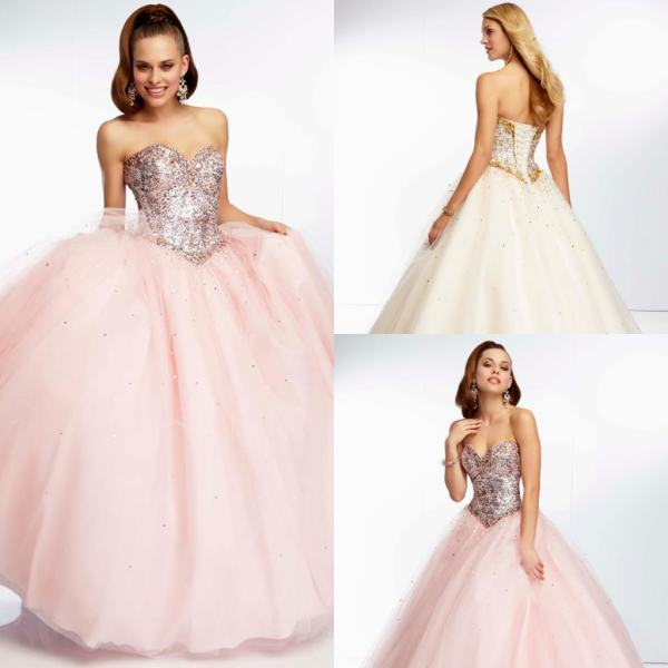 New Arrival Light Pink Quinceanera Dresses 2015 Crystal Beaded ...