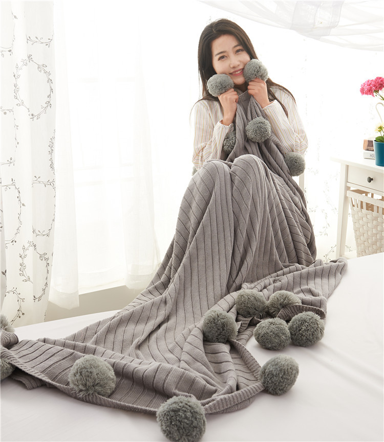 New Striped Explosion Pink White Grey Knitted Blanket Throw Cobertor Knit Ball Blankets Bed Sofa Cover Photography props