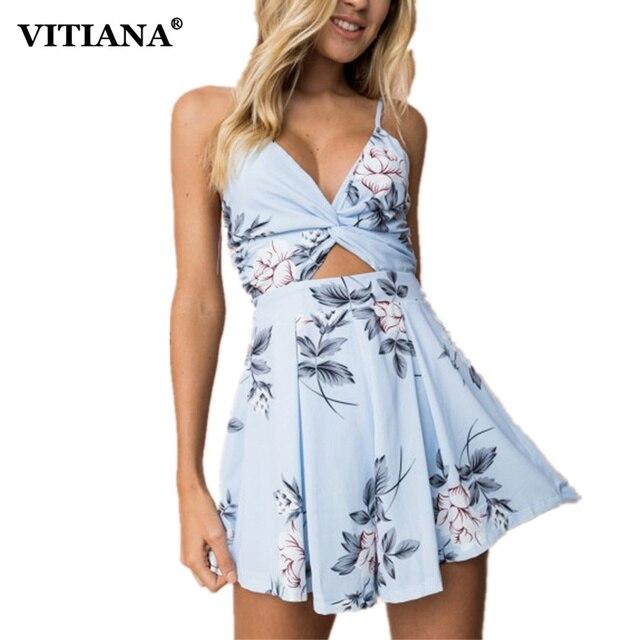 832a177260fb VITIANA Women 2018 Summer Sexy Strapless Casual Romper Female Blue Floral  Print Sleeveless backless Boho Beach Short Jumpsuit