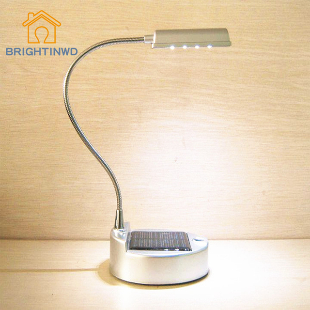LED Solar Table Lamp 4leds Solar Usb Charging Folding Bending Table Light  Reading Study Lighting Lampshade