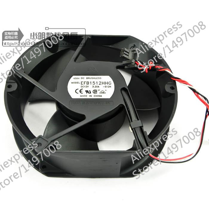 Free Shipping For DELTA  EFB1512HHG, -S12N  DC 12V 3.20A 3-wire 6-pin 130mm  connector 172X50X51mm Server Square fan free shipping for delta afc0612db 9j10r dc 12v 0 45a 60x60x15mm 60mm 3 wire 3 pin connector server square fan