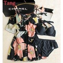 STAR MENG Sweet chiffon shirt Strapless black bikinis Three Piece Swimsuit Dress Style spa seaside swimming along with