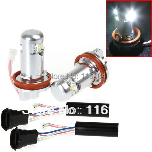 2pcs X white 6W H8 Car LED Light Angel Eye Halo Ring Lamp Bulb for BMW E92 E70 2x131mm 2x145mm white angel eye halo ring light lamp non projector model led for bmw e46 3 series