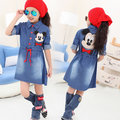 Fall Girls Dress Clothes For Children Long Sleeve Cartoon Minnie Mickey Washed Casual Vestidos Meninas Infantil Costume Disfraz