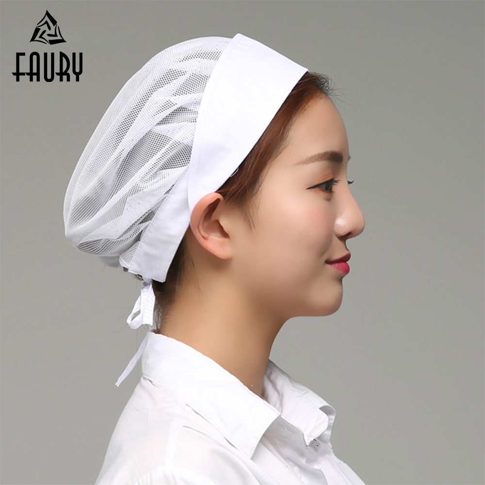 New Net Chef Hat Kitchen Health Work Canteen Restaurant Food Service Bakery Baking Female Women Breathable Anti-hair Loss Cap