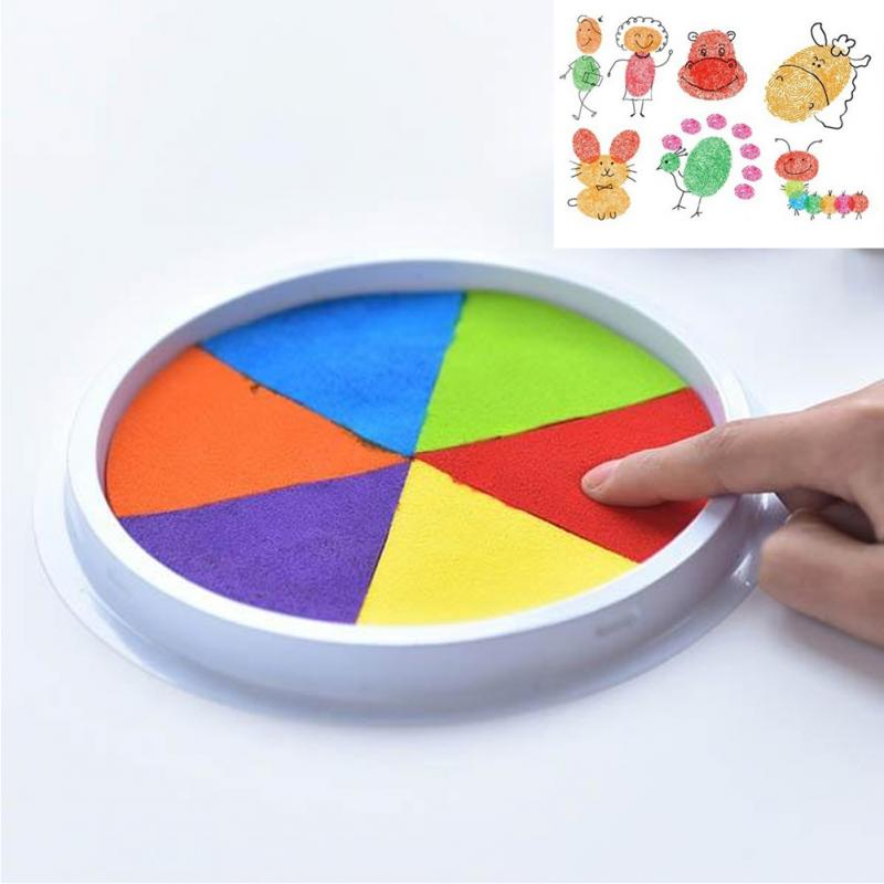 DIY Kids Finger Painting Drawing Toys Baby Funny Graffiti Multicolor Stamps Inkpad Toy Scrapbooking Vintage Crafts Toy #0911