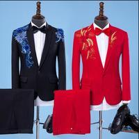 S-XXL nam giới Trưởng Thành new Paillette Thêu phù hợp với hiện đại ca sĩ máy chủ trang phục sân khấu màu đen Mỏng Sequins phù hợp với đám cưới Chú R