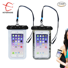 2 pieces PVC Luminous Waterproof Phone Case Cover for Cell Phone Touchscreen WaterProof Underwater Transparent Pouch Bag