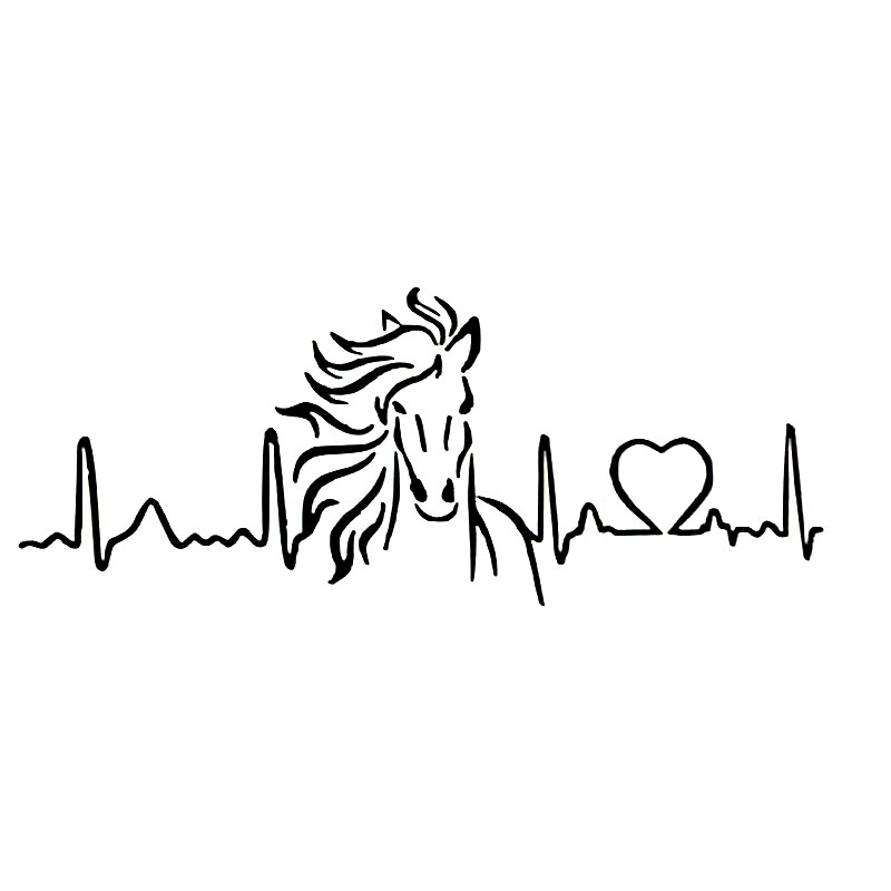 20cm*7.9cm Horse Heartbeat Love Car Sticker Animal Car Styling Decals Black/Sliver S6-2725 hot sale 1pc longhorn hilux 900mm graphic vinyl sticker for toyota hilux decals badges detailing sticker car styling accessories