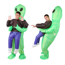Inflatable Monster Costume Scary Green Alien dinosaur Mascot Cosplay Costume for Adult animal Halloween Purim Party стоимость