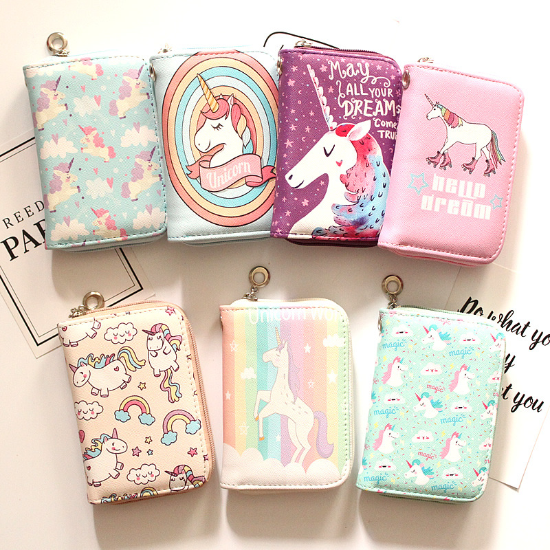 8 New Style Unicorn women wallets with coin pocket short zipper coin purse for girls clutch famale Wallet zipper fashion Wallet new anime style spiderman men wallet pu leather card holder purse dollar price boys girls short wallets with zipper coin pocket